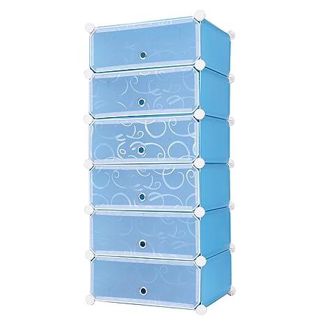 Tangkula DIY Shoe Rack Shelf Portable 6 Cube Shoe Cabinet Storage Organizer  With Doors