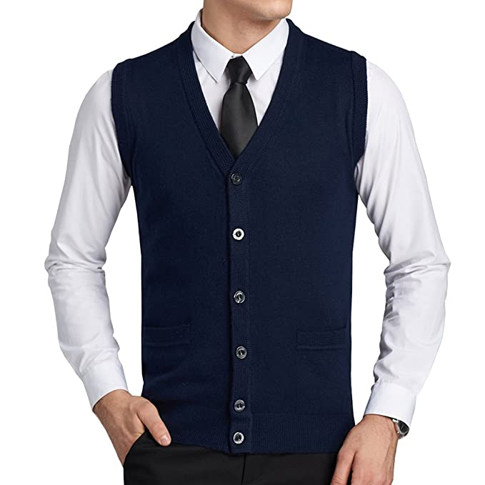1950s Men's Clothing FULIER Mens Wool V-Neck Gilet Sleeveless Vest Waistcoat Classic Gentleman Knitwear Cardigans Knitted Sweater Tank Tops With Buttons £23.99 AT vintagedancer.com