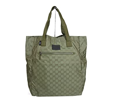 125344fcb Gucci Guccissima Nylon Handbag Viaggio Collection Tote Bag 308877 (Green  3362)