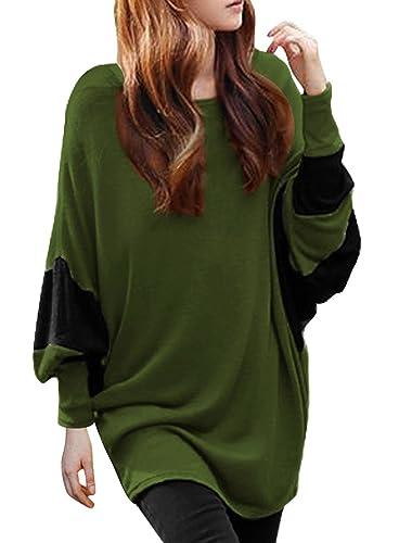 Women Scoop Neck Color Block Batwing Oversize Tunic Top