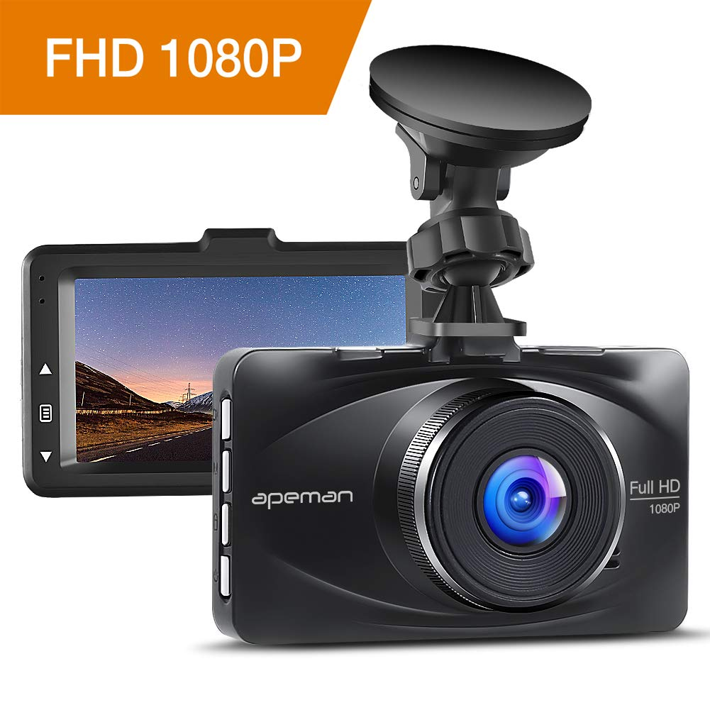 apeman Dash Cam 1080P FHD Car Dashboard Camera DVR Driving Video Recorder 3' LCD Screen 170° Wide Angle with WDR Loop Recording G-sensor Parking Monitor and Motion Detection