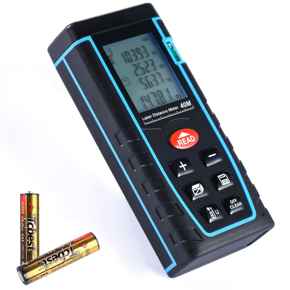 TOOLTOO 131Ft Laser Distance Measure - Handheld Laser Distance Meter Portable Laser Measuring Device Multi-functional Laser Tape Measure Rangefinder with LCD Backlight Display
