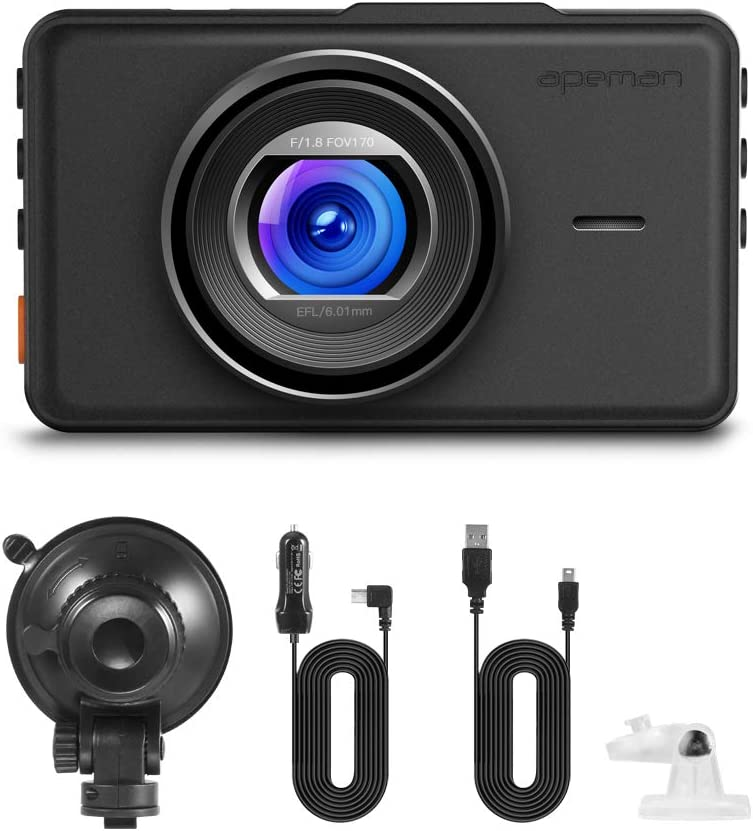 G-Sensor APEMAN Dash Cam 1080P FHD DVR Car Driving Recorder 3 Inch LCD Screen 170/° Wide Angle Loop Recording Parking Monitor Motion Detection WDR