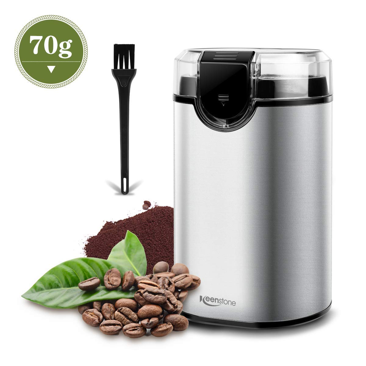 Coffee Grinder, Keenstone Electric Coffee Bean Grinder with Stainless Steel Blade Fast Grinding for Coffee, Spices, Nut and Herb, Detachable Power Cord & Little Brush Included【2-year Warranty】