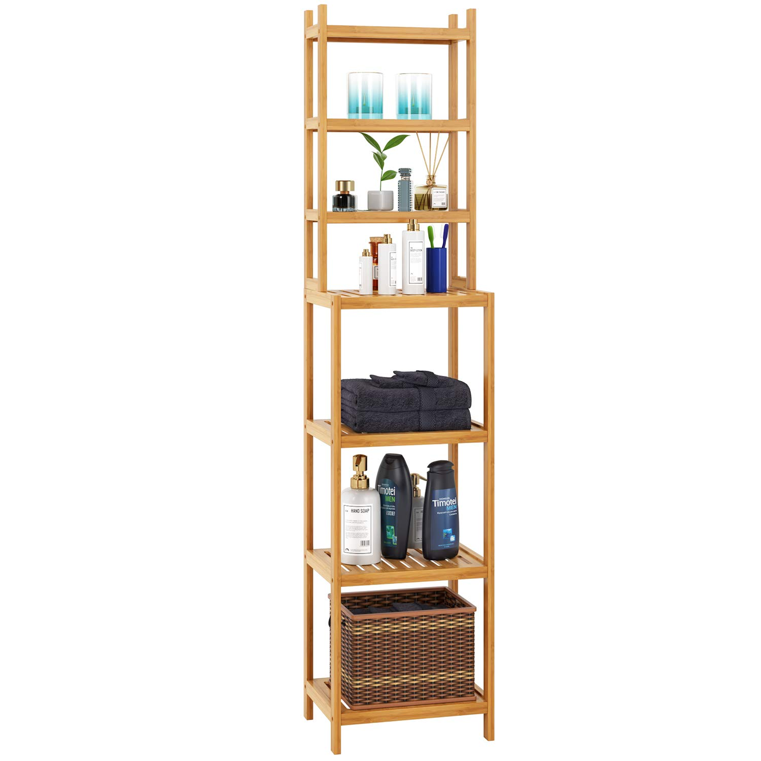 Homfa Bamboo Bathroom Shelf 7-Tier Tower Free Standing Storage Organizer Rack, Multifuntional Utility Shelf, Natural