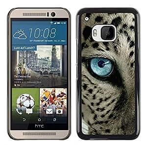 Ocelot Azul Negro manchas azules del ojo de gato- Metal de aluminio y de plástico duro Caja del teléfono - Negro - HTC One M9