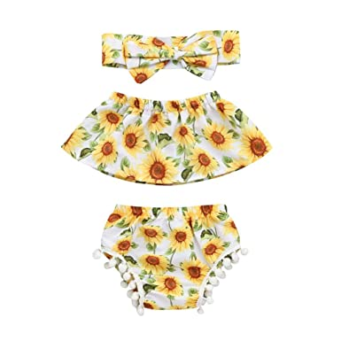 26677025e Amazon.com: FDelinK Newborn Infant Baby Girls Outfit Clothes Sunflower  Print Romper Jumpsuit Bodysuit + Pants + Headband 3Pcs Set: Clothing
