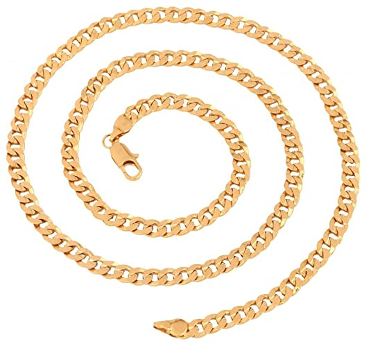 "The jewelbox s Gold Plated Slim Classic Curb Chain for Men Long 23"" Chains at amazon"