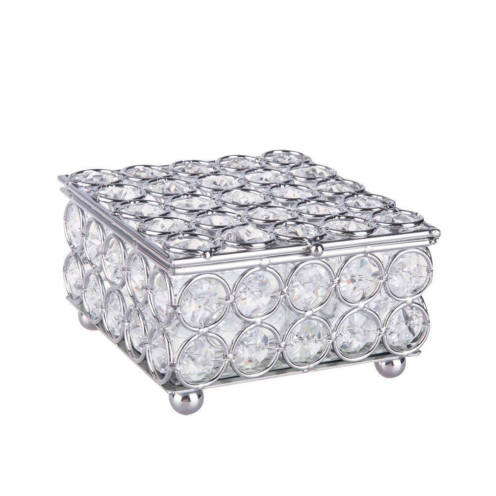 Feyarl Crystal Jewelry Box Beads Trinket Organizer Box with Mirrored Inside (Silver)