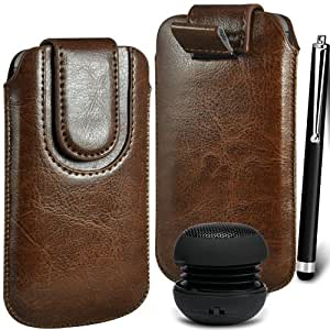 N4U Online Premium PU tirón del cuero del tirón del caso Tab cubierta de bolsa Con magnética Cierre de correa, Stylus Pen & Mini altavoz portable para Blackberry Curve 9320 - Marrón