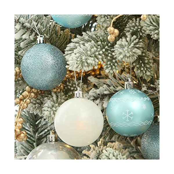 Sea Team 24-Pack Christmas Ball Ornaments with Strings, 60mm/2.36-inch Medium Size Baubles, Shatterproof Plastic Christmas Bulbs, Hanging Decorations for Xmas Tree, Holiday, Wedding, Party, Babyblue 6 spesavip