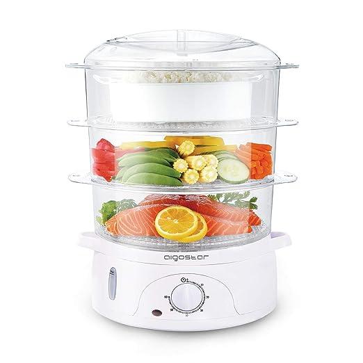 Aigostar Fitfoodie 30cfo Vaporera Eléctrica Para Cocinar Alimentos Al Vapor Con Potencia De 800 W Y Temporizador Libre De Bpa Dispone De 3