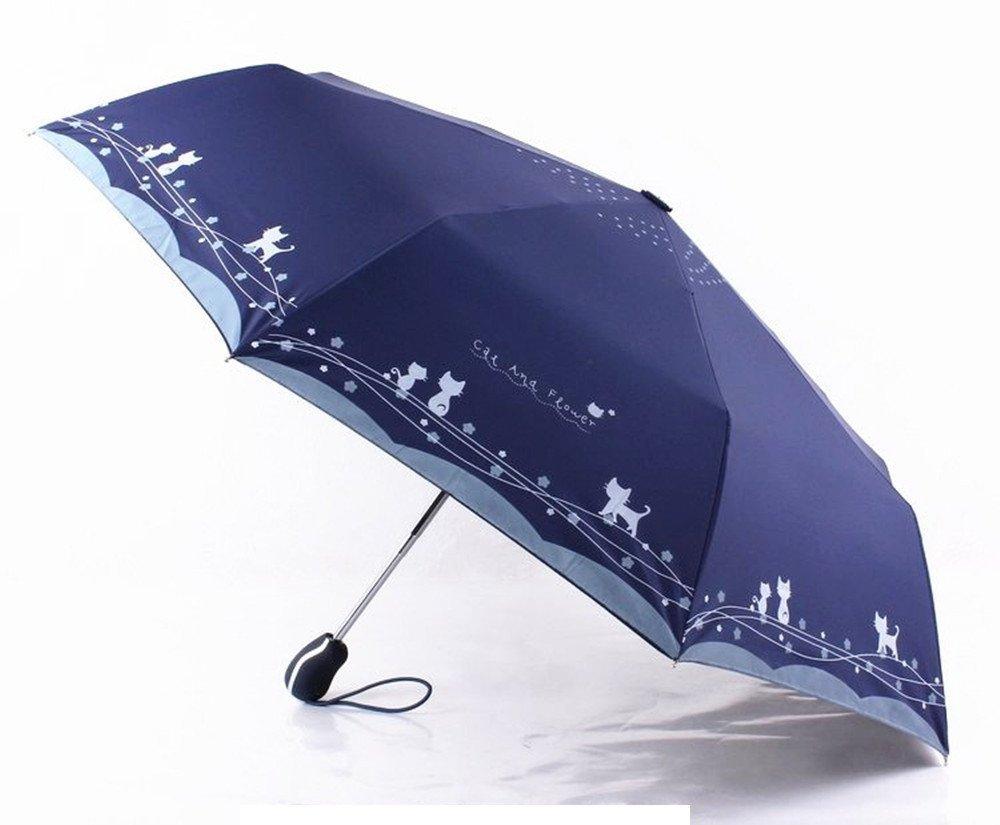 Katoot@ Cute cat and flower three-folding automatic umbrella rain sun women black coating plegable windproof paraguas mujer high quality (Dark Blue)