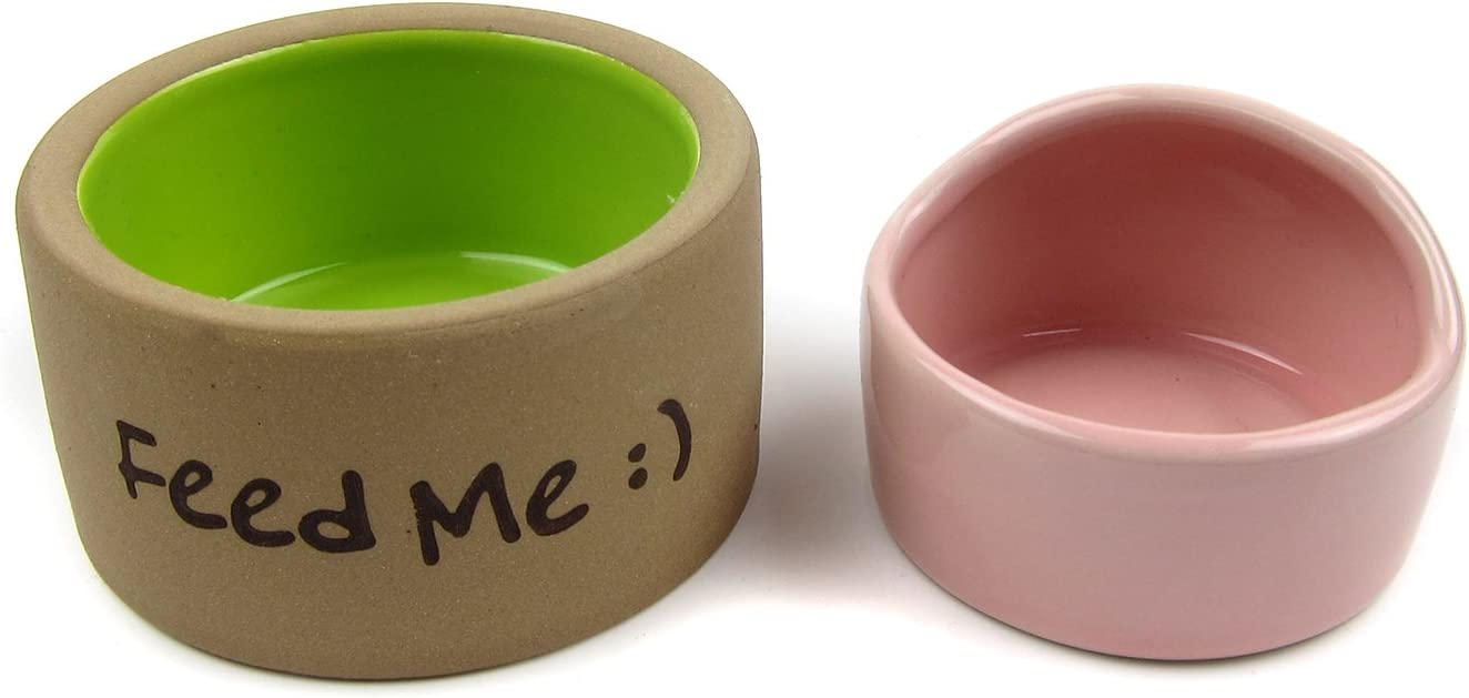 Alfie Pet - Seren Ceramic 2-Piece Set Food and Water Water Bowl for Mouse, Chinchilla, Rat, Gerbil and Dwarf Hamster - Color: Pink Brown