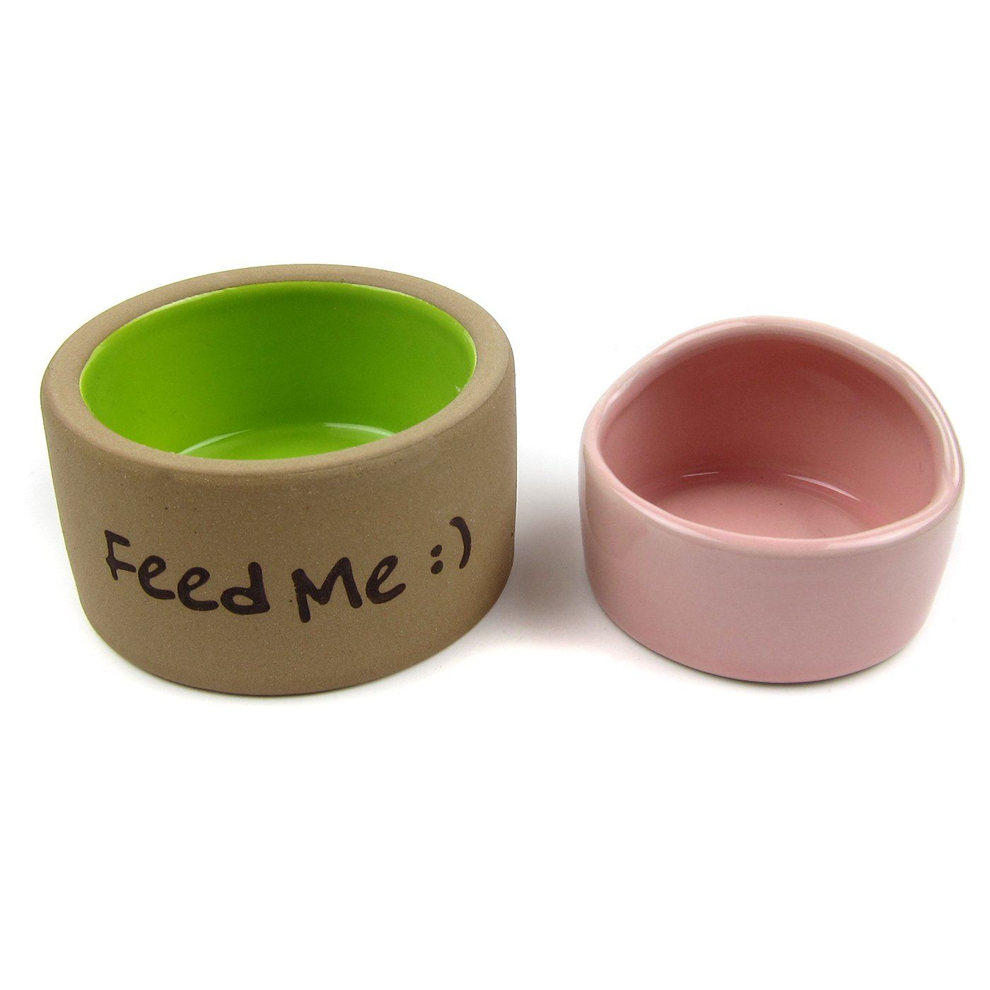 Alfie Pet by Petoga Couture - Seren Ceramic 2-Piece Set Food and Water Bowl for Mouse, Chinchilla, Rat, Gerbil and Dwarf Hamster - Color: Pink Brown