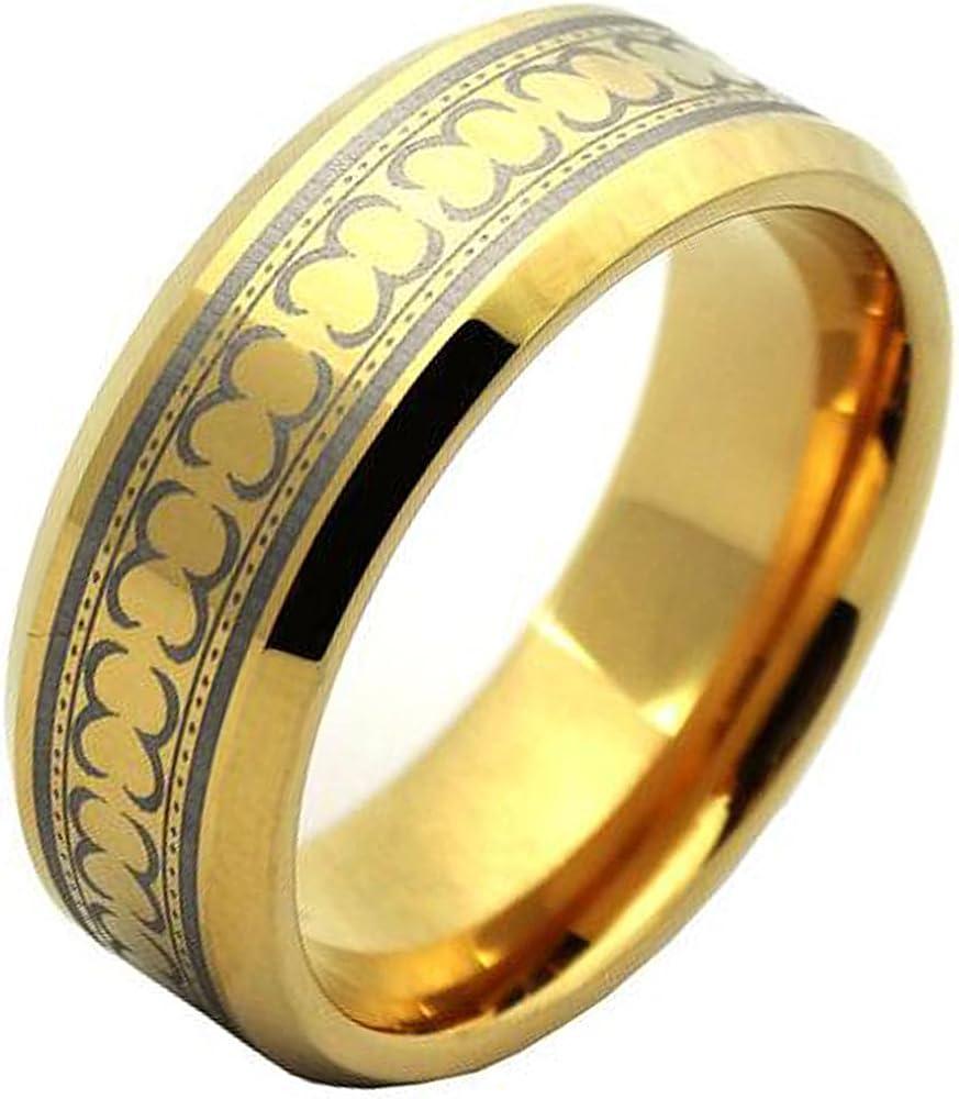 NYBUCHI Tungsten Men Women Electroplated Gold Pattern Laser Ring Wedding Band,Size 6-13.5