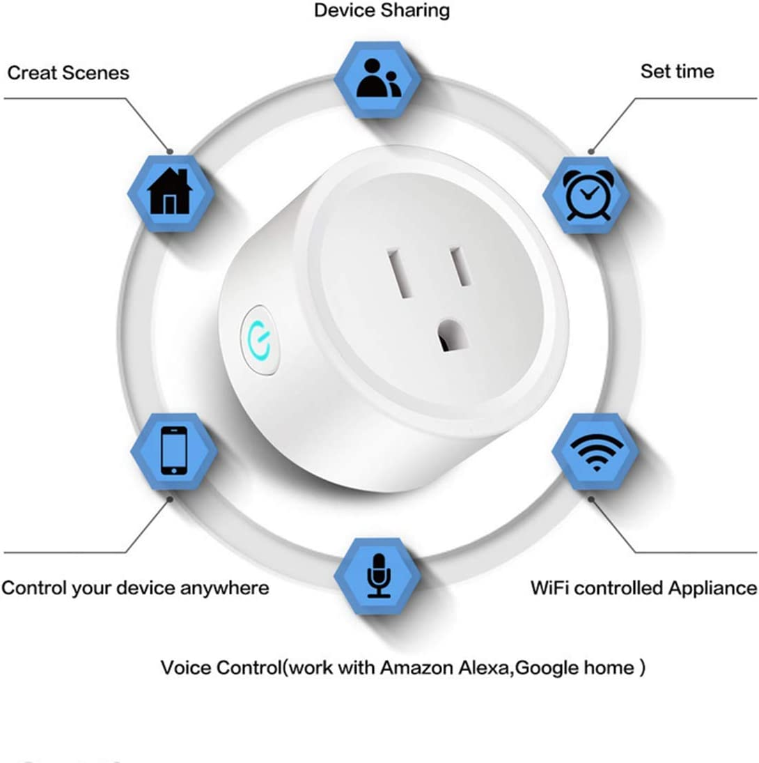 SUNANDMOON Smart Plug WiFi Outlet Compatible with Alexa, Google Home IFTTT for Voice Control, Mini Smart Socket with Timer Function, No Hub Required White, 4 Pieces