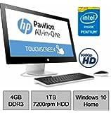 Newest HP Pavilion 22 TouchScreen IPS FHD (1920 x 1080) All-in-One Desktop PC, Intel Pentium G3260T 2.9GHz, 4GB RAM, 1TB 7200rpm HDD, Webcam, Bluetooth, HDMI, Ultra Slim DVD Burner, Windows 10 Home