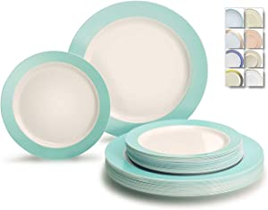 """"""" OCCASIONS """" 50 Plates Pack (25 Guests)-Wedding Party Disposable Plastic Plate Set -25x10.5'' Dinner + 25x7.5'' Salad/dessert plates (Rio, White & Pearled Turquoise Blue)"""