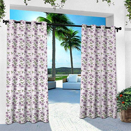 Hengshu Garden Art, Thermal Insulated Water Repellent Drape for Balcony,Retro Style Violet Flowers and Buds Artful Springtime Pattern on Polka Dots, W96 x L96 Inch, Mauve Green ()