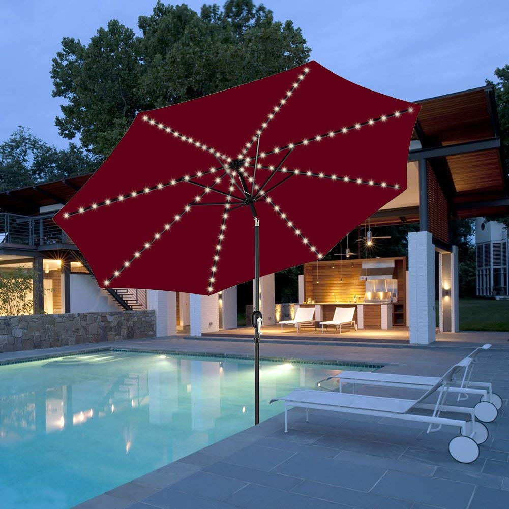 Decorative String Lights for Patio Cantilever Umbrella,8-Ribs 104 LED,Battery Powered,Remote Control,Timer,Dimmable,8 Mode,Easy to Install,Hanging Umbrellas Lights Warm White