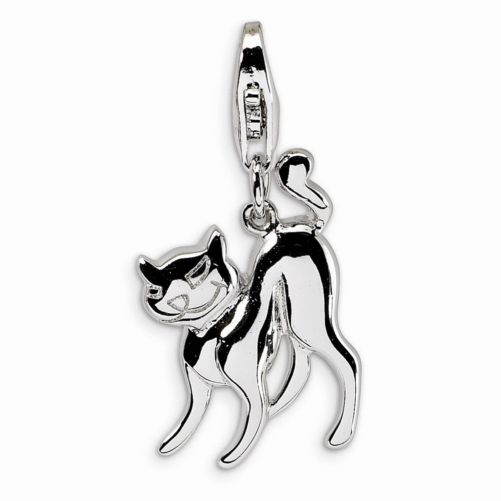 Best Quality Free Gift Box Sterling Silver Scary Cat With W//lobster Clasp Charm