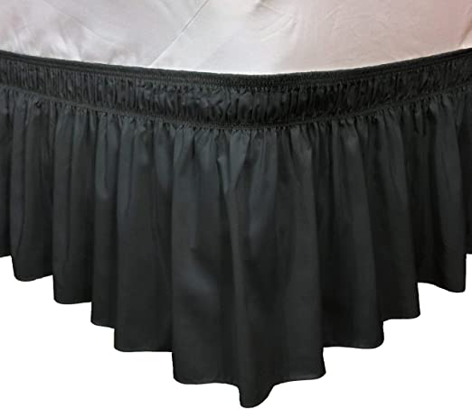 Amazon.com: Elegant Elastic Ruffle Bed Skirt Easy Warp Around King