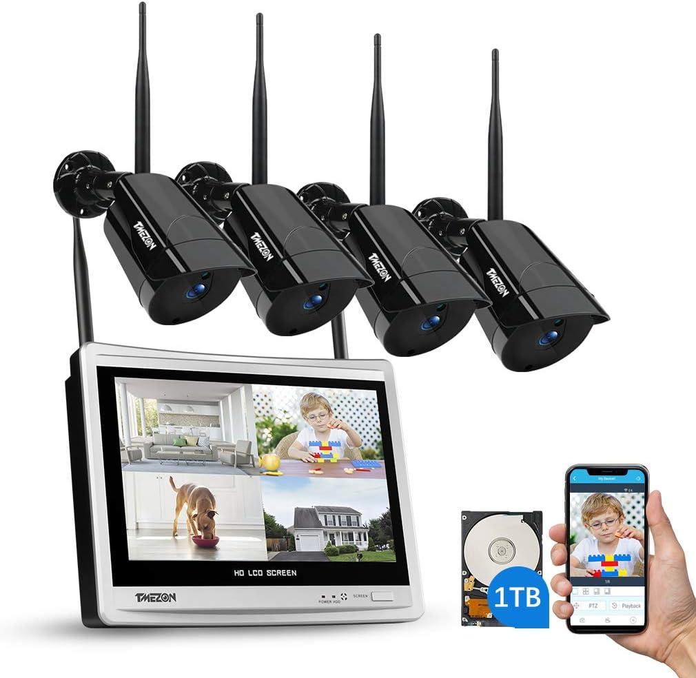 TMEZON Sistema de cámara de Seguridad inalámbrica 4CH con 12 Pulgadas de Monitor LCD, cámara Tipo Bala 4 * 1080P, Kit de cámara CCTV IP WiFi NVR, Disco Duro de 1TB
