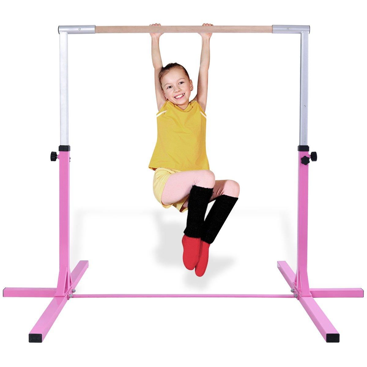 Costzon Junior Training Bar, Gymnastics Adjustable Steel Gymnastic Horizontal Bar,Pink