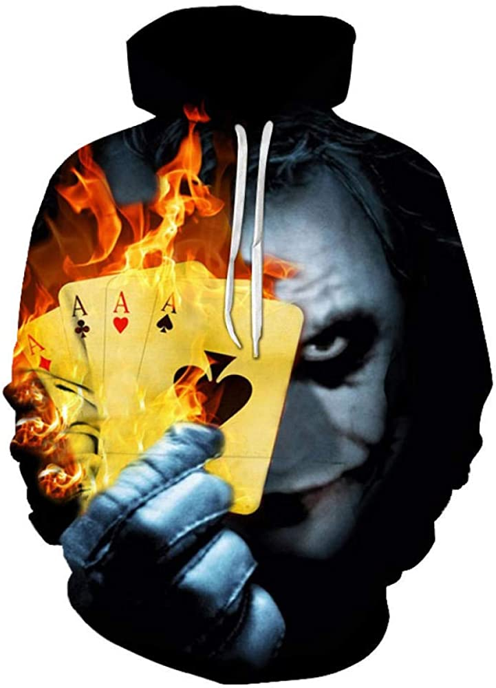 Dqianyu 3D Unisex Felpe con Cappuccio Cerniera Tasche Felpa Stampato PulloverPersonaggi in possesso di Carte da Poker inorriditi