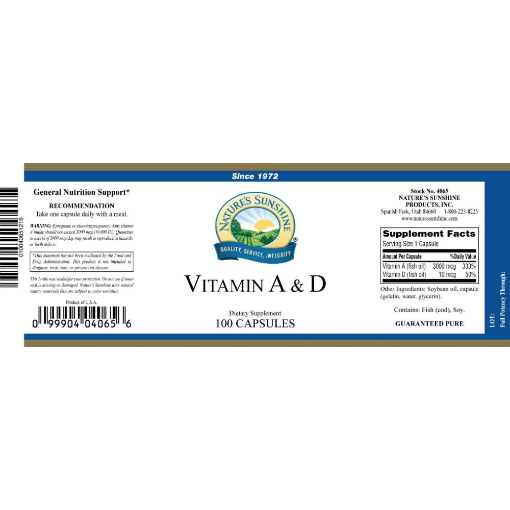 Naturessunshine Vitamin A & D 10,000/400 IU 100 softgel caps (Pack of 6) by Nature's Sunshine (Image #1)