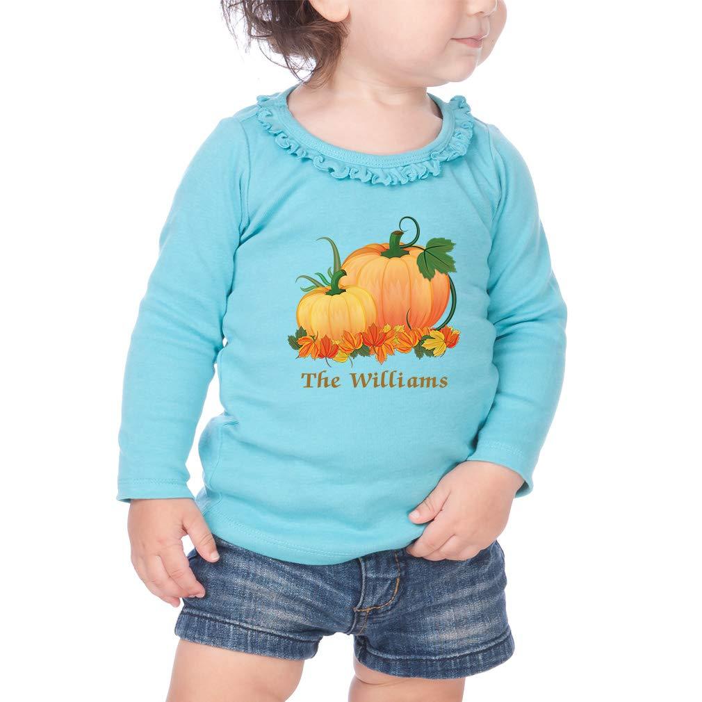 Personalized Fall Pumpkins Cotton Girl Toddler Long Sleeve Ruffle Shirt Top