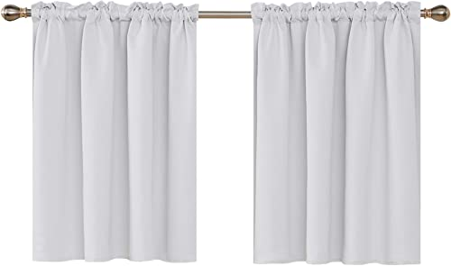Deconovo Blackout Embossed Valances Rod Pocket Light Blocking Window Valances Panel Kitchen Curtains for Small Windows 42×36 Inch Star White Set of 2 Panels