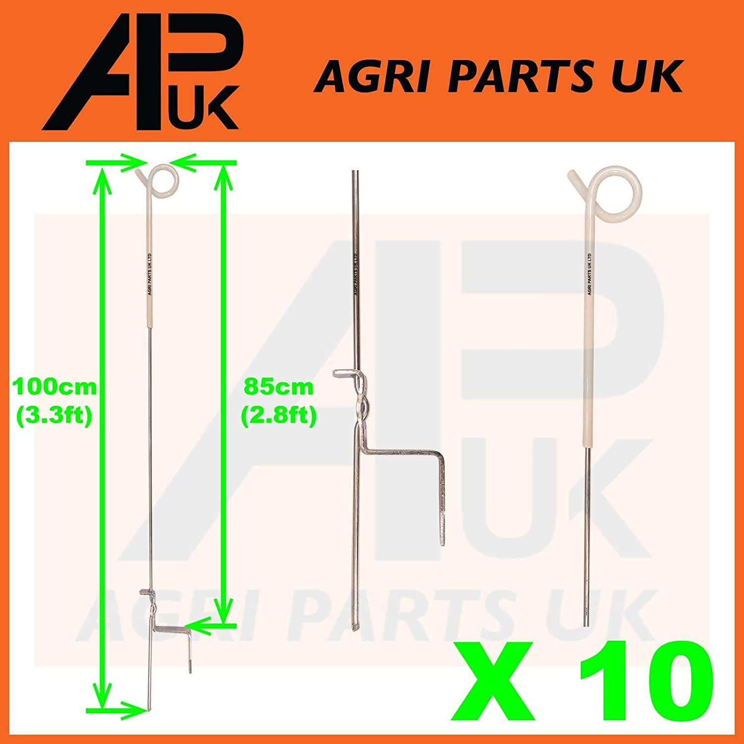 APUK 10x Electric Fence Pigtail Posts Stakes Steel 3ft Poly wire rope tape Insulators Agri Parts UK Ltd