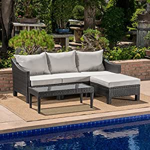 Caspian Outdoor L Shaped Grey Wicker Sectional Sofa Set with Silver Water Resistant Cushions