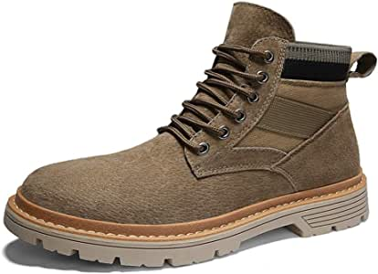 Men's Shoes-Casual Ankle Boots for Men Work Boots Lace Up Canvas & Genuine Leather Patchwork Rubber Sole Round Toe Stitching Anti-Skid (Color : Sand, Size : 39 EU)