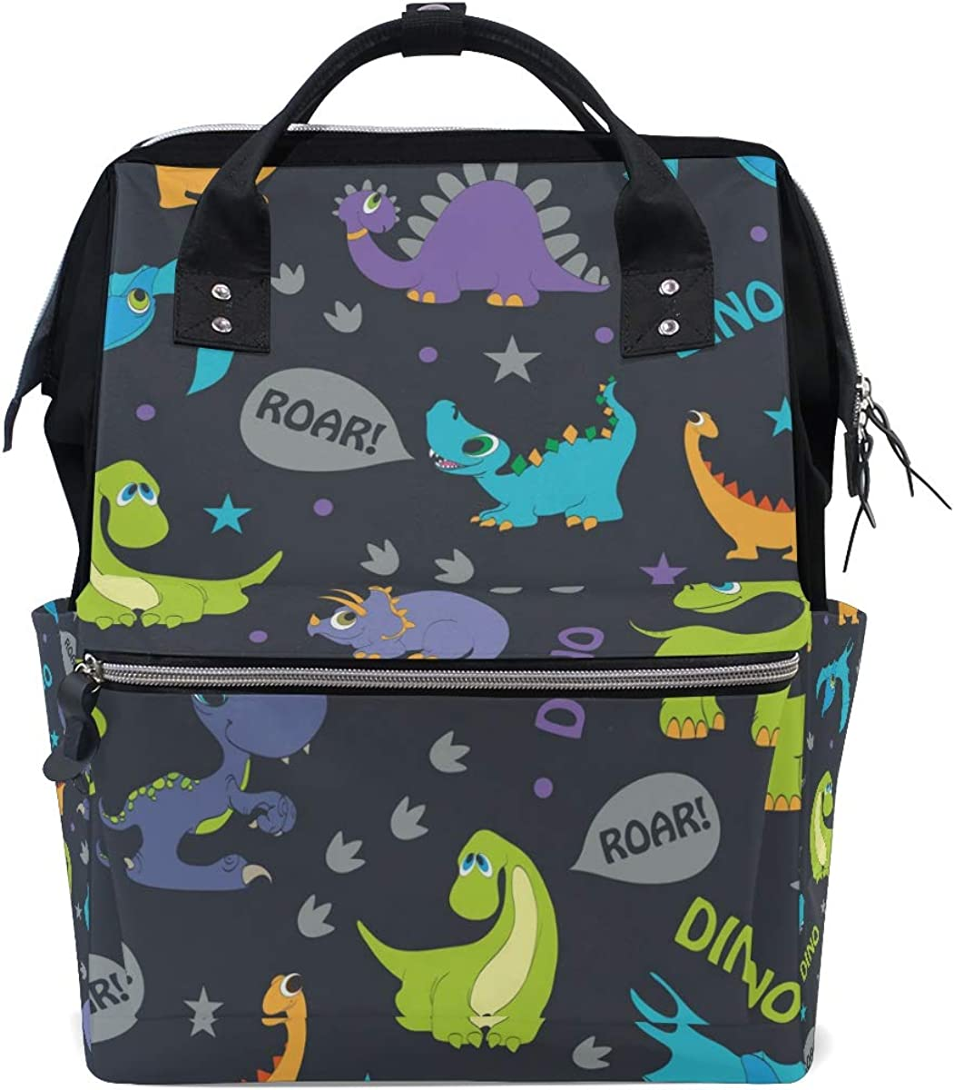 MONTOJ Cute Dinosaurs Pattern Polyester Travel Backpack Laptop Backpack