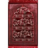 Modefa Islamic Prayer Rug - Wide Double Plush Velvet Namaz Sajjadah Red