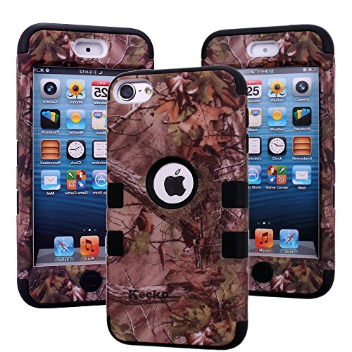 iPod Touch 6th Generation Case, ipod Touch 6 Camo Protective Case,Kecko Dual Layer Hunting Tree Camoufalge Patterned Soft Inner Silion+Tough Hard PC Bumper Case Cover for ipod Touch 6 Only (Bla) ()