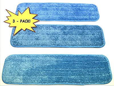 """3-pack 18"""" Microfiber Dust Mop / Wet Mop Pads, made by Wellness Cleaning Supply. Commercial grade, Wet/Dry use, and Washable!! Look for the WCS tag to ensure genuine quality, ONLY available directly from Wellness Cleaning Supply."""