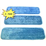 "3-pack 18"" Microfiber Dry/Wet Mop Pads for Commercial Microfiber Mops. Washable Pads are Ideal for All Hard Surfaces!"