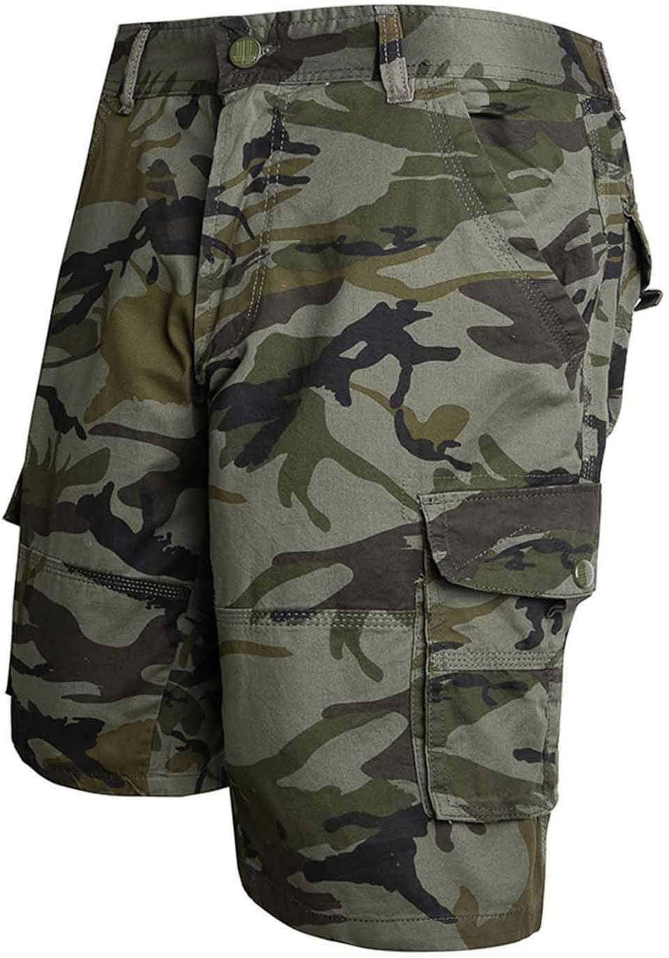 Reaowazo Mens Cargo Shorts Cotton Military Camo with Multi Pockets Camouflage Outdoors Pants