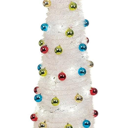 6ft slim white pop up christmas tree 60 led lights tinsel baubles benross group 88220