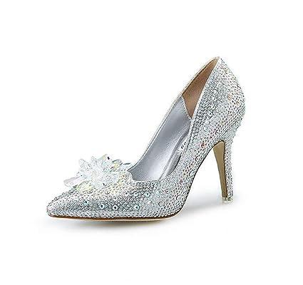 Eeayyygch Zapatos de Cenicienta de Cristal Zapatos de Boda Nupcial Zapatos  de Aguja de Las Mujeres a730a79c9212