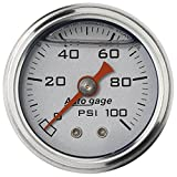 "Auto Meter 2180 Auto Gage Silver 1-1/2"" 0-100 PSI Mechanical Fuel Pressure Gauge"