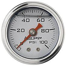 "Auto Meter 2180 Auto Gage Silver 1-1/2"" 0-100 PSI Mechanical Fuel Pressure Gauge"