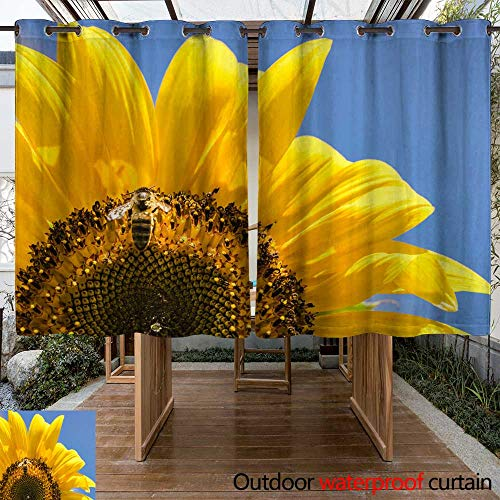 WinfreyDecor Home Patio Outdoor Curtain Beautiful Yellow Flower Blossom with bee W96 x L72 (Blossom Beaded)