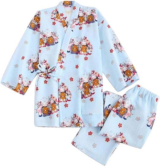 Black Temptation Kimono para Mujer Ropa de Dormir Algodón Camisa de Manga Larga, Top y pantalón Conjunto de Pijama, n.º 01: Amazon.es: Hogar