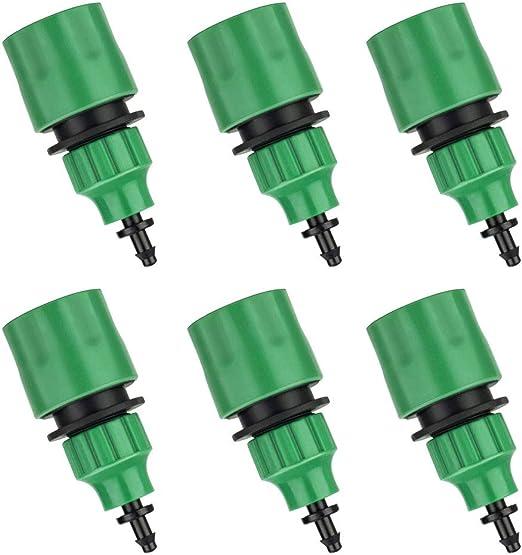 FOGAWA 6pcs Adaptador Grifo Manguera Micro Adaptador Riego Manguera de Jardín Conector Rápido para Riego con Microtubo 1/4