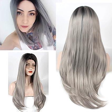ZeroBlizzard Recta larga 250% Densidad 2 Tone peluca Ombre de plata gris de encaje sintético